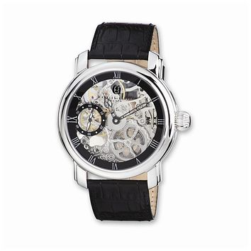 Charles Hubert Mens Leather Band Black Skeleton Dial Watch