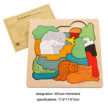 Interesting wooden 3D Puzzle early children educational toys multilayer cartoon animal puzzle  for baby girls boys gift on piece