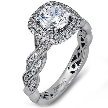 Simon G. Double Halo Diamond Twist Engagement Ring