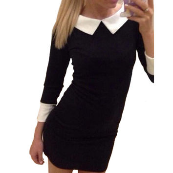 women casual dress long Sleeve casual Doll collar Chiffon mini dress Contrast Color Dress Black Red Purple (Size is too large)