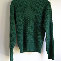 Vintage Mens 90s Green Cable Knit Sweater Small Retro Jumper Womens Slouchy Grunge