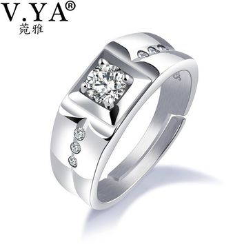 V.YA 925 Sterling Silver Ring Ringent Big Size Wide Square Finger Rings Classic Cool Cubic Zircon Men Engagement Wedding Jewelry