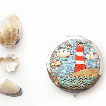 Pocket Mirror Lighthouse Sea - Magical Summer Nautical - Handmade Decor Polymer clay - Gift for Mom - Pocket Mirror Compact - MAKE TO ORDER
