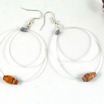 Halloween Hoop Earrings with Wire Wrapped Recycled Guitar Strings and Handmade Paper Beads Music Lovers Gift Eco-friendly Vegan Jewellery