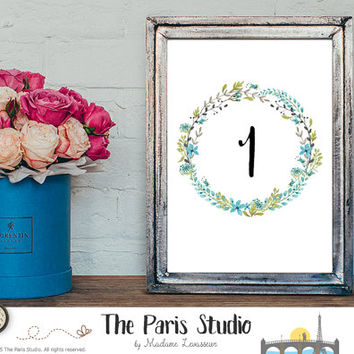 wedding table numbers watercolor floral wreath design 1-20 instant download wedding party signage printable signs floral printable signage