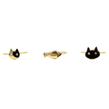 Golden Cute Crystal Cat And Fish Finger Ring Pack