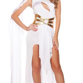 Vocole White Black Greek Goddess Cosplay Long Dress One Shoulder Open Chest Sexy Night Party Clothing Adult Women