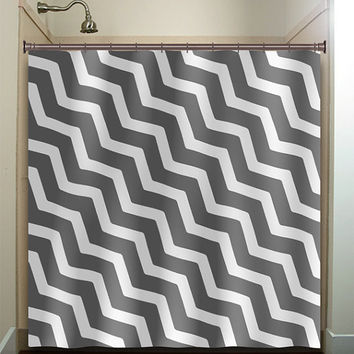 zigzag diagonal gray chevron shower curtain bathroom decor fabric kids bath white black custom duvet cover rug mat window