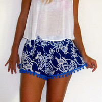 Pom Pom Shorts, Cobalt Blue Bird of Paradise with Large Blue Pom Pom Trim Pants