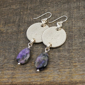 Purple Haitian earrings, silver 20 centimes coins, charoite teardrop beads, sterling French hooks