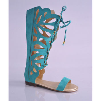 Knee High Gladiator Sandals - Shoes