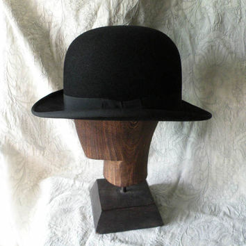 French vintage black bowler hat - period hat - gentleman's hat - vintage hat - antique bowler hat - derby hat - period drama - Parisian