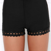 Pants on Fire Black High-Waisted Shorts