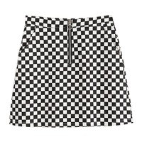 2017 Summer Korean Style Black White Plaid High Waist Slim A-line Female Skirts