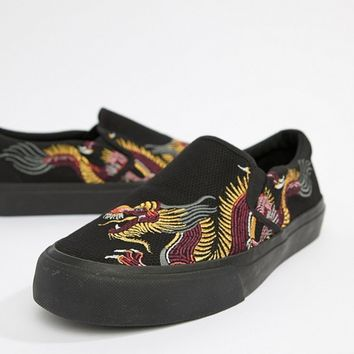 ASOS DESIGN Slip On Sneakers In Black Mesh With Dragon Embroidery at asos.com