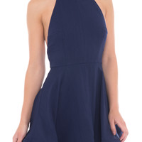 FLARED HALTER DRESS