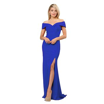 CLEARANCE - Royal Blue Off-Shoulder Long Formal Dress with Slit (Size Large)