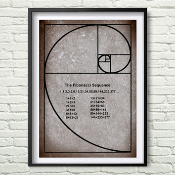 Instant download Science art mathematics Fibonacci Spiral Fibonacci number for school university college classroom scientific decor