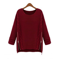 Long Sleeve Side Zipper Cable Knit Sweater