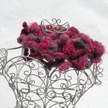 leaves garland crochetted scarf autmn winter,red,violet