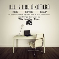 Life is a camera quote wall stickers home decor photograph vinyl adesivo de parede home decoration wall sticker
