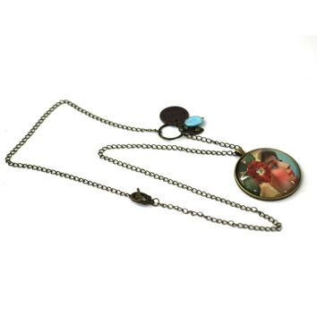 """Modern Mary Necklace - One of a Kind Mary Image from Antique Bronze Chain - Simple Statement Necklace - 30"""" Long - Papersonal - Clay Space"""