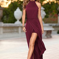 Wine Long Drape Dress | VENUS