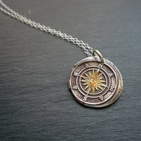 Golden Compass Wax Seal Necklace Antiqued