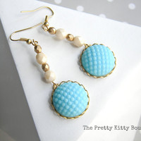 Vintage Baby Blue and Cream Dangle Earrings