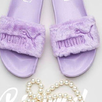 """PUMA"" Rihanna Fenty Leadcat Fur Slipper Shoes Women Slipper Purple"