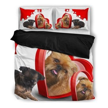 Brussels Griffon (Griffon Bruxellois) With Two Hearts Print Bedding Set-Free Shipping