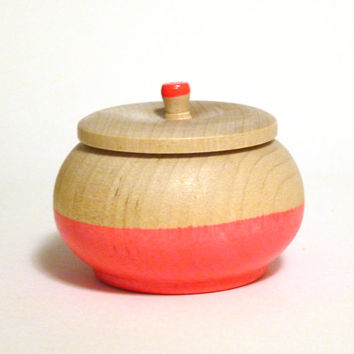Coral jewelry box, wood jewelry box, tiny trinket box