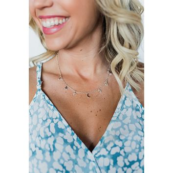 Star & Moon Necklace- Silver