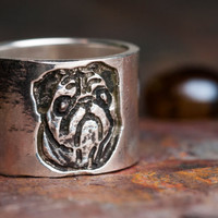 Custom Dog Portrait Ring Pet Portrait Personalized Sterling Silver