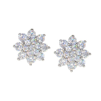 Dear Deer White Gold Plated Flower CZ Stud Earrings