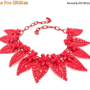 Red Celluloid Floral Bib Necklace, Red Plastic Daisy Flower & Filigree Leaf Charms, Red Plastic Chain, Vintage Jewelry, Statement Necklace