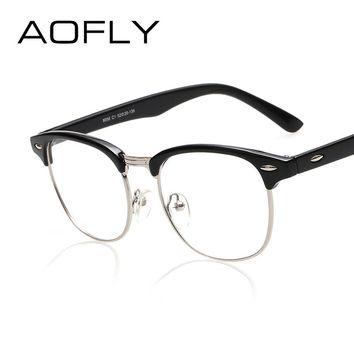 Fashion Vintage Retro Style Leopard Frame Plain Glasses Men Women Eyeglasses Optical Frame Glasses