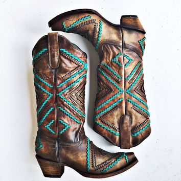 Corral Honey Embroidery Woven Diamond Inlay and Studs Boot