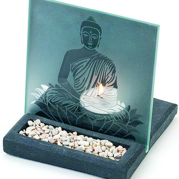 Etched Buddha on Lotus Flower Tealight Candle Holder & Mini Stone Garden