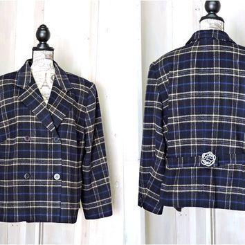 Vintage Plaid Wool Jacket size XL XXL / retro womens double breasted car coat / Jones New York made in Canada