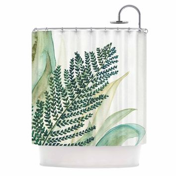 "Viviana Gonzalez ""Botanical Vibes 02"" Green Pastel Watercolor Shower Curtain - Outlet Item"
