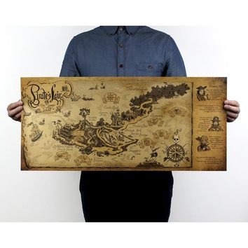 Pirate lair map/Pirates ocean/kraft paper/bar poster/Retro Poster/decorative painting 72.5x35.5cm Free shipping