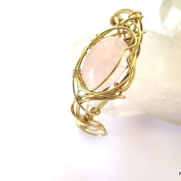 Rose Quartz Wire Wrapped Cuff, Artisan Made Gold Cuff
