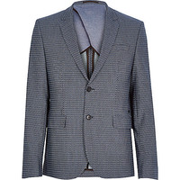 River Island MensNavy geo slim suit jacket