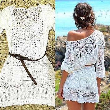 Black Friday Deals White Women Summer Sexy Lace Crochet Knit Bikini Cover Up Beach Dress Top Blousa with Belt