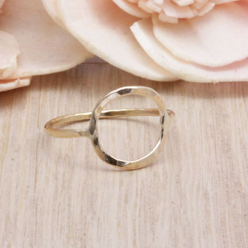 Hammered circle ring with 18 gauge 14k gold filled