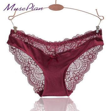 ESBONJ Europe and America size women sexy lace panties seamless cotton breathable panty Hollow briefs Plus Size girl sexy  underwear