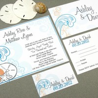 Waves Beach | Modern Wedding Invitation Suite by RunkPock Designs | Swirl script calligraphy destination wedding invitation featuring starfish, sand dollar and shells | shown in turquoise, bright blue and orange