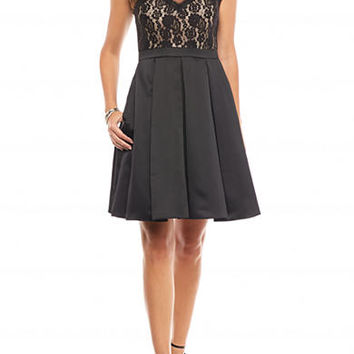 Betsy & Adam Mixed Media Fit and Flare Dress
