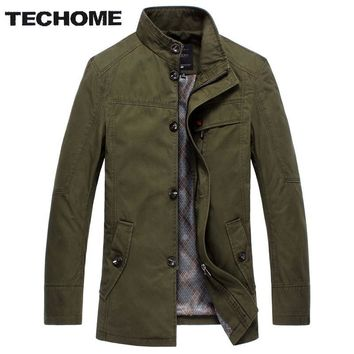 TECHOME New Fashion Design Autumn Men Trench Coat Solid Color Men Trench Coat Casual Style Mens Short brand-clothing Trench Coat